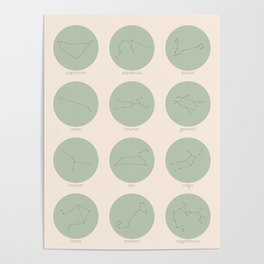 Zodiac Constellations - Sage Green Poster
