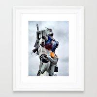gundam Framed Art Prints featuring Gundam Pride by Julie Maxwell