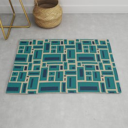 Geometric Rectangles in Navy, Teal and Tan 2 Rug