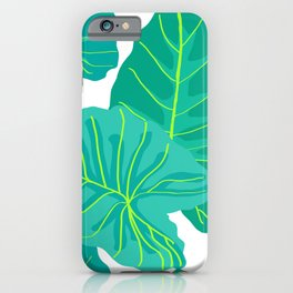Giant Elephant Ear Leaves in White iPhone Case