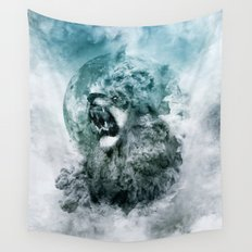 Lion Blue Wall Tapestry