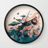 cock Wall Clocks featuring Watermelon&Black cock by Tanya_tk