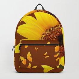 COFFEE BROWN YELLOW SUNFLOWER & BUTTERFLIES Backpack