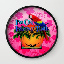 Pink Hibiscus Island Time And Parrot Wall Clock