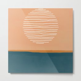 Abstract sun over ocean - mid century modern art  Metal Print