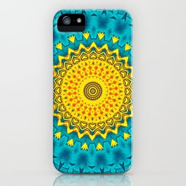 Birds of Paradise Geometric Circle Pattern \\ Tropical Beach House Vibes \\ Green Yellow Blue Colors iPhone Case