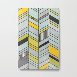 Colorful Concrete Chevron Pattern - Yellow, Blue, Grey Metal Print
