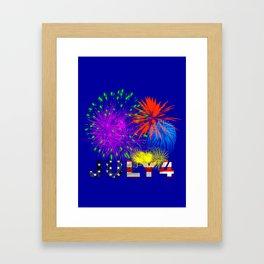 America 4th of July Fireworks Framed Art Print
