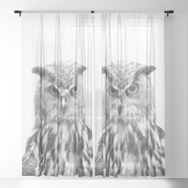 Black and white owl animal portrait Sheer Curtain