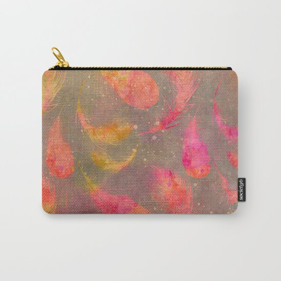 Feather pink and orange Carry-All Pouch
