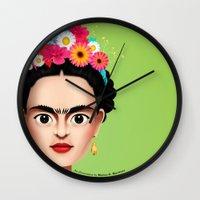 frida Wall Clocks featuring Frida by Matias G. Martinez