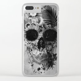Garden Skull B&W Clear iPhone Case