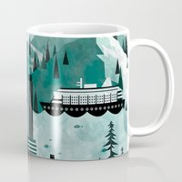 travel poster Mugs featuring Vancouver Travel Poster Illustration by ClaireIllustrations