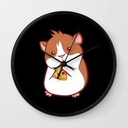 Hamster Rodent Hawaiian Pizza Wall Clock