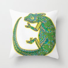 Quirky Chameleon Throw Pillow