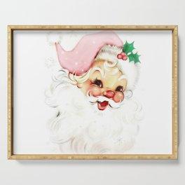 pink retro vintage santa Serving Tray