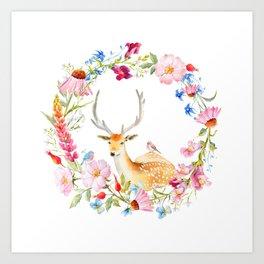 Deer in a floral wreath Art Print