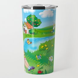 Children`s illustration for a book, album, magazine. A girl in the meadow, in the summer. Travel Mug