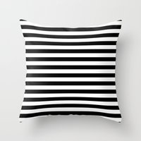 Throw Pillows featuring Modern Black White Stripes Monochrome Pattern by Girly Road