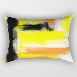 orange yellow and black painting abstract with white background Rectangular Pillow