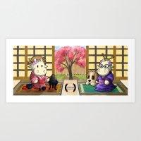 Moomie and Noomie around a cup of tea. (Japanese tea Ceremony)  Art Print