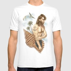 CASTAWAY White MEDIUM Mens Fitted Tee