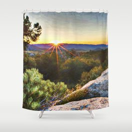 Sage Mountain Sunset Shower Curtain