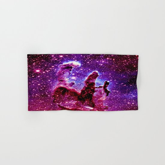 galaxy nebula : Pink & Purple pillars of creation Hand & Bath Towel