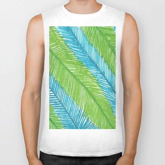 Blue and Green Palm Leaves Biker Tank
