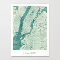 New York Map Blue Vintage Canvas Print
