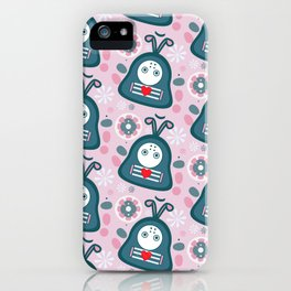 Funny bugs in love iPhone Case