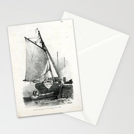 Hullmandel - Lithographic Drawing Book (1827) - A Sailing Boat Moored at a Dock Stationery Cards