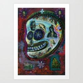 White Flower Covered Sugar Skull painting  Art Print