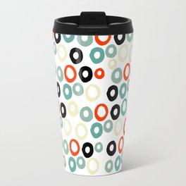 Hand painted pastel red green ivory watercolor polka dots Travel Mug