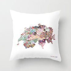 Switzerland map Throw Pillow