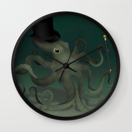 Octopus with a top hat Wall Clock