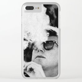 Cigar Smoker Cigar Lover JFK Gifts Black And White Photo Clear iPhone Case