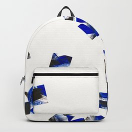 Black and Cobalt Blue Minimalist Random Falling Pieces Backpack