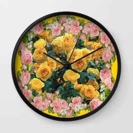 PINK & YELLOW SPRING ROSES GARDEN VIGNETTE Wall Clock