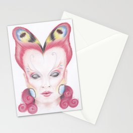 Peacock Butterfly Girl Stationery Cards