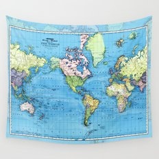 Mercator Map of Ocean Currents Wall Tapestry