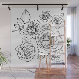 Feminine and Romantic Rose Pattern Line Work Illustration Wall Mural