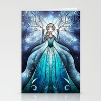 mandie manzano Stationery Cards featuring The Snow Queen by Mandie Manzano