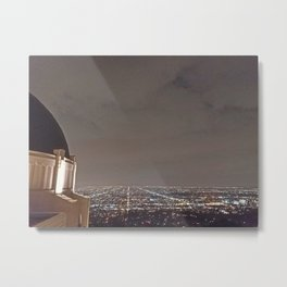 Griffith Observatory under cloudy night skies Metal Print