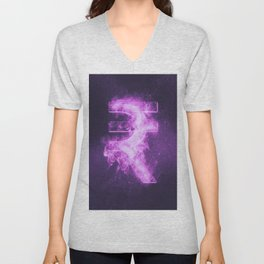 Indian Rupee sign, Indian Rupee symbol. Monetary currency symbol. Abstract night sky background. Unisex V-Neck