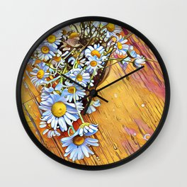 White Daisies Yellow Floor by CheyAnne Sexton Wall Clock