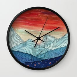 Lines in the mountains IV Wall Clock