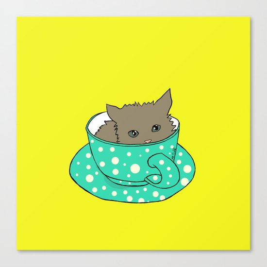 Kitten In A Teacup Canvas Print