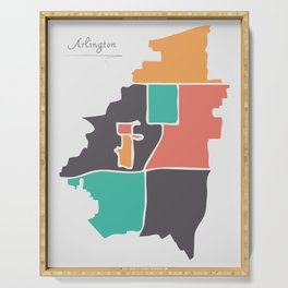 Arlington Texas Map with neighborhoods and modern round shapes Serving Tray