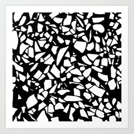 Terrazzo White on Black Art Print